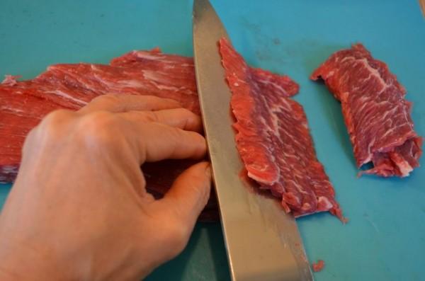 Cut the meat steak