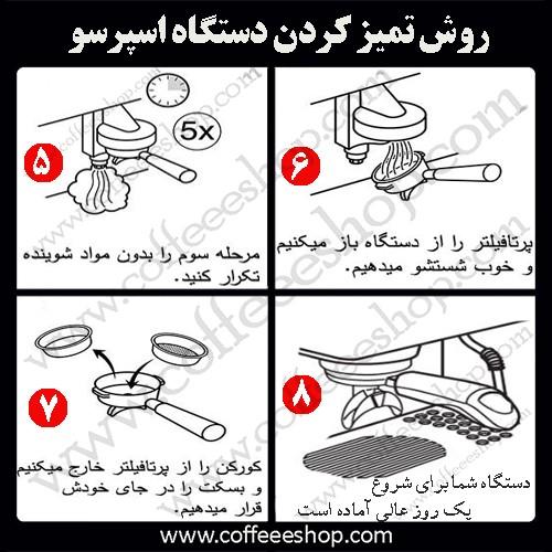 روش صحیح نظافت روزانه دستگاه اسپرسو :